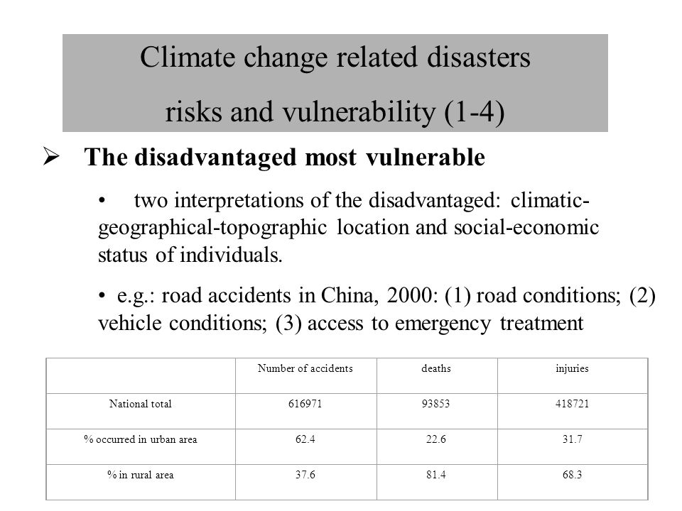 Climate change related disasters risks and vulnerability (1-4)  The disadvantaged most vulnerable two interpretations of the disadvantaged: climatic-