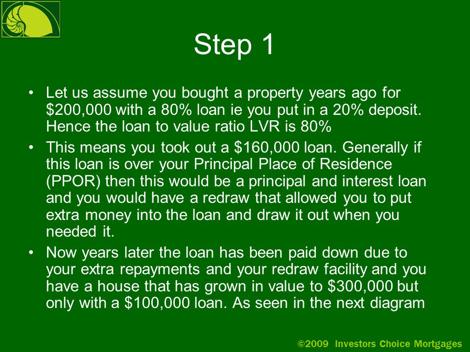 ©2009 Investors Choice Mortgages Step 1 Let us assume you bought a property years ago for $200,000 with a 80% loan ie you put in a 20% deposit.