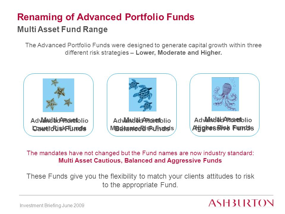 Investment Briefing June 2009 Renaming of Advanced Portfolio Funds Multi Asset Fund Range The Advanced Portfolio Funds were designed to generate capital growth within three different risk strategies – Lower, Moderate and Higher.