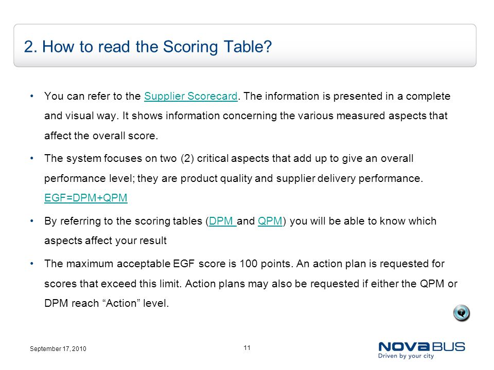 September 17, 2010 11 2. How to read the Scoring Table.