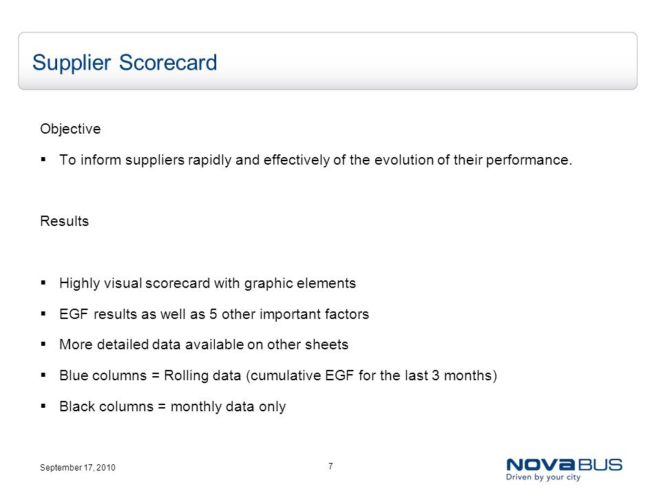September 17, 2010 7 Supplier Scorecard Objective  To inform suppliers rapidly and effectively of the evolution of their performance.
