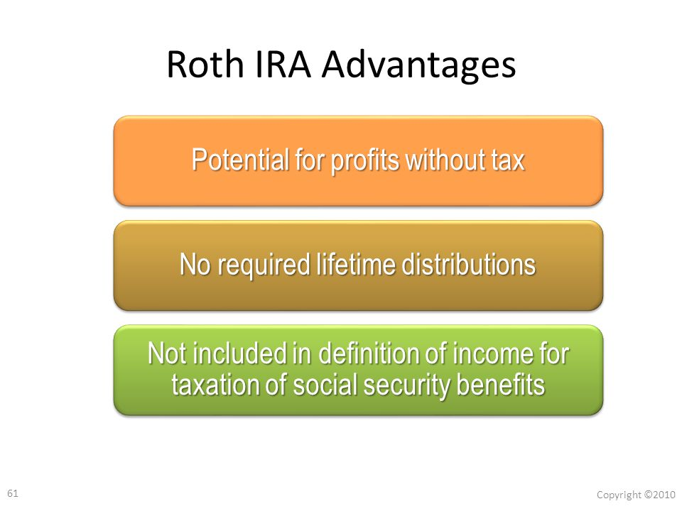60 Copyright ©2010 Roth IRA and Social Security ● Distributions from Traditional IRA's and 401(k)'s are included in provision income (in excess of two thresholds).