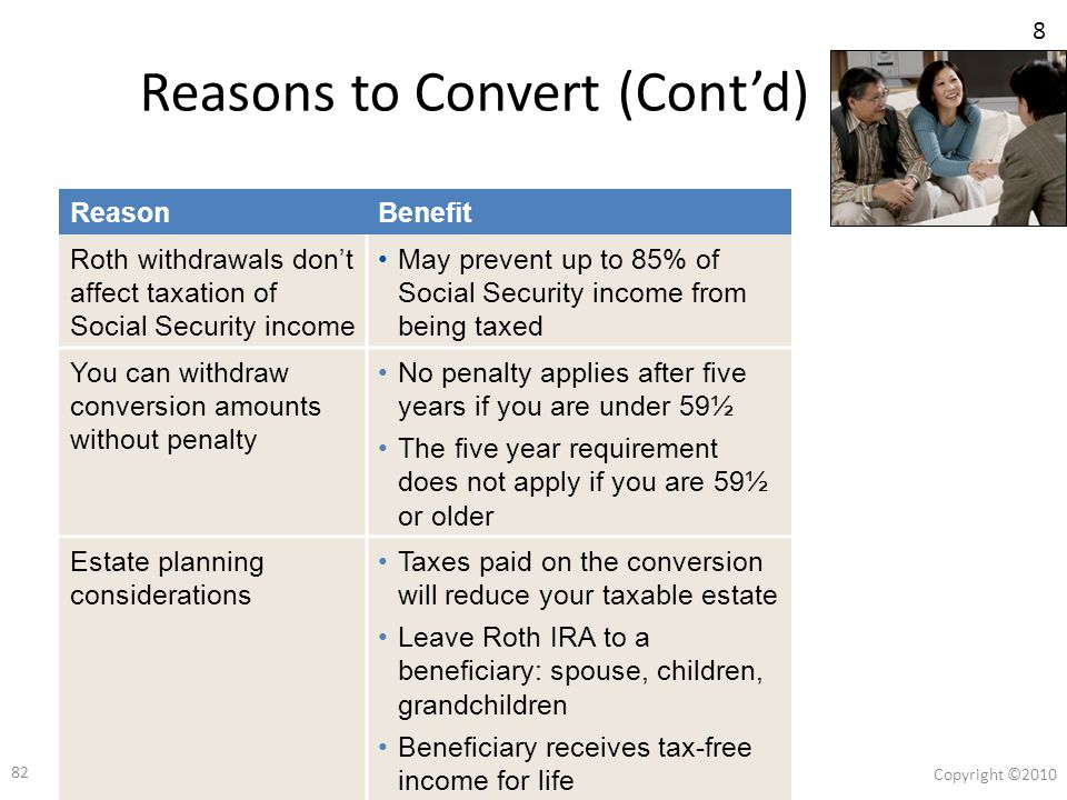 81 Copyright ©2010 81 Reasons to Convert ReasonBenefit Lock in today's tax ratesDo you know your retirement tax bracket.