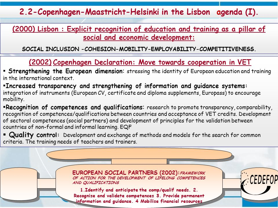 6 (2002) Copenhagen Declaration: Move towards cooperation in VET  Strengthening the European dimension : stressing the identity of European education and training in the international context.