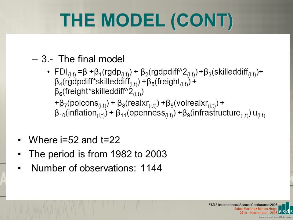 ESDS International Annual Conference 2006 Salas Martínez Milton Hugo 27th - November – 2006 THE MODEL (CONT) –3.- The final model FDI (i,t) =β +β 1 (rgdp (i,t) ) + β 2 (rgdpdiff^2 (i,t) ) +β 3 (skilleddiff (i,t) )+ β 4 (rgdpdiff*skilleddiff (i,t) ) +β 5 (freight (i,t) ) + β 6 (freight*skilleddiff^2 (i,t) ) +β 7 (polcons (i,t) ) + β 8 (realxr (i,t) ) +β 9 (volrealxr (i,t) ) + β 10 (inflation (i,t) ) + β 11 (openness (i,t) ) +β 9 (infrastructure (i,t) ) u (i,t) Where i=52 and t=22 The period is from 1982 to 2003 Number of observations: 1144