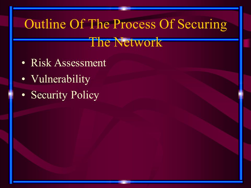 Outline Of The Process Of Securing The Network Risk Assessment Vulnerability Security Policy