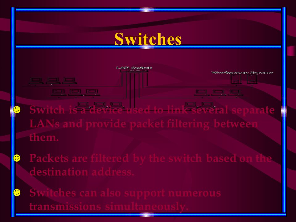 Switches Switch is a device used to link several separate LANs and provide packet filtering between them. Packets are filtered by the switch based on
