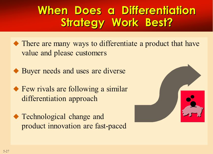 5-27 When Does a Differentiation Strategy Work Best.