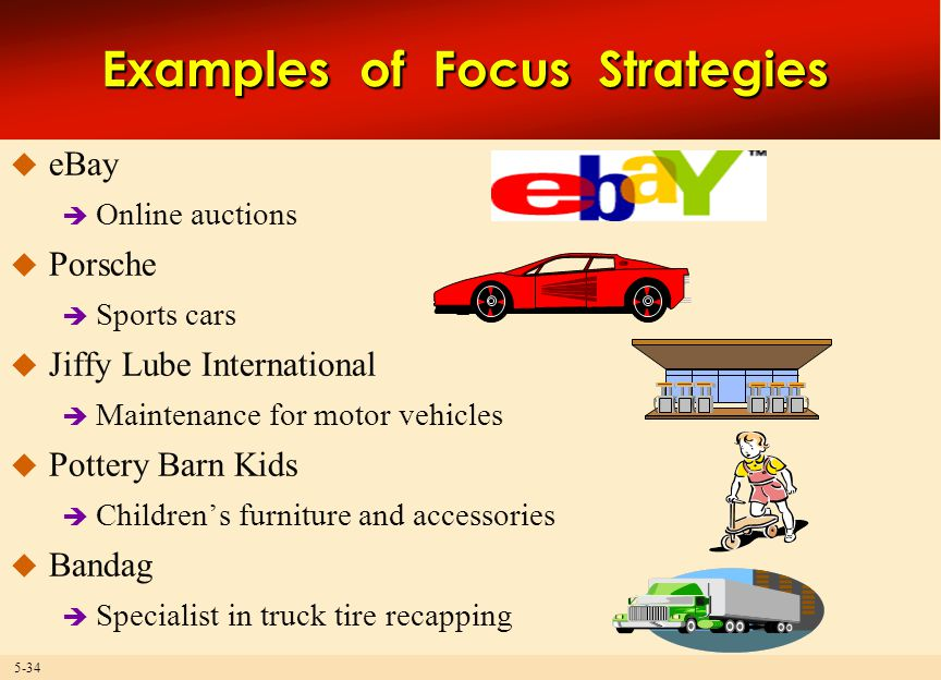 5-34 Examples of Focus Strategies  eBay  Online auctions  Porsche  Sports cars  Jiffy Lube International  Maintenance for motor vehicles  Pottery Barn Kids  Children's furniture and accessories  Bandag  Specialist in truck tire recapping