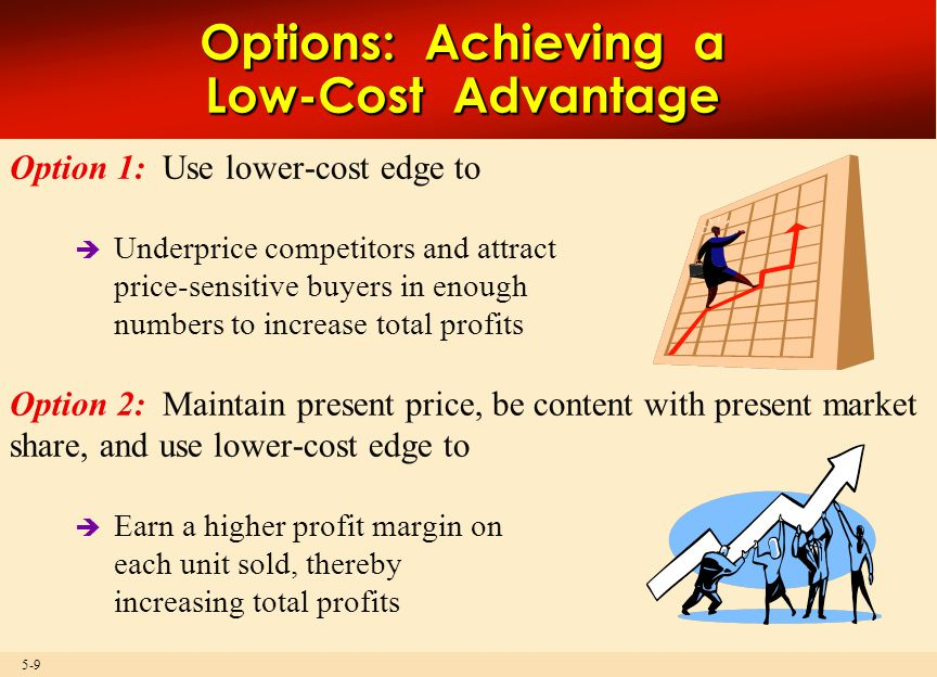 5-9 Option 1: Use lower-cost edge to  Underprice competitors and attract price-sensitive buyers in enough numbers to increase total profits Option 2: Maintain present price, be content with present market share, and use lower-cost edge to  Earn a higher profit margin on each unit sold, thereby increasing total profits Options: Achieving a Low-Cost Advantage