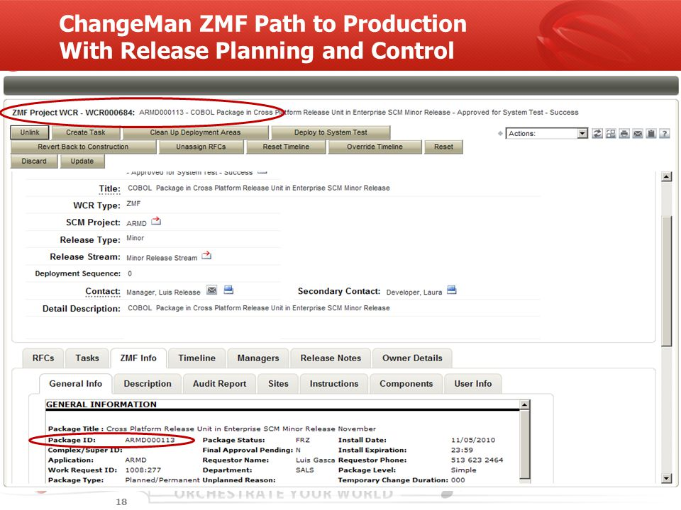 ChangeMan ZMF Path to Production With Release Planning and Control 18