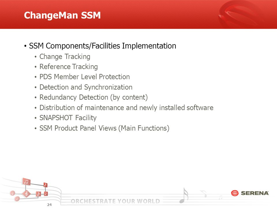ChangeMan SSM SSM Components/Facilities Implementation Change Tracking Reference Tracking PDS Member Level Protection Detection and Synchronization Redundancy Detection (by content) Distribution of maintenance and newly installed software SNAPSHOT Facility SSM Product Panel Views (Main Functions) 24