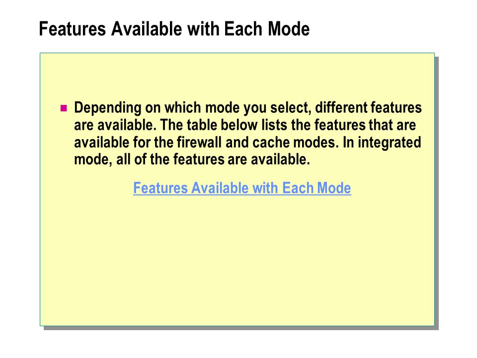 Features Available with Each Mode Depending on which mode you select, different features are available.