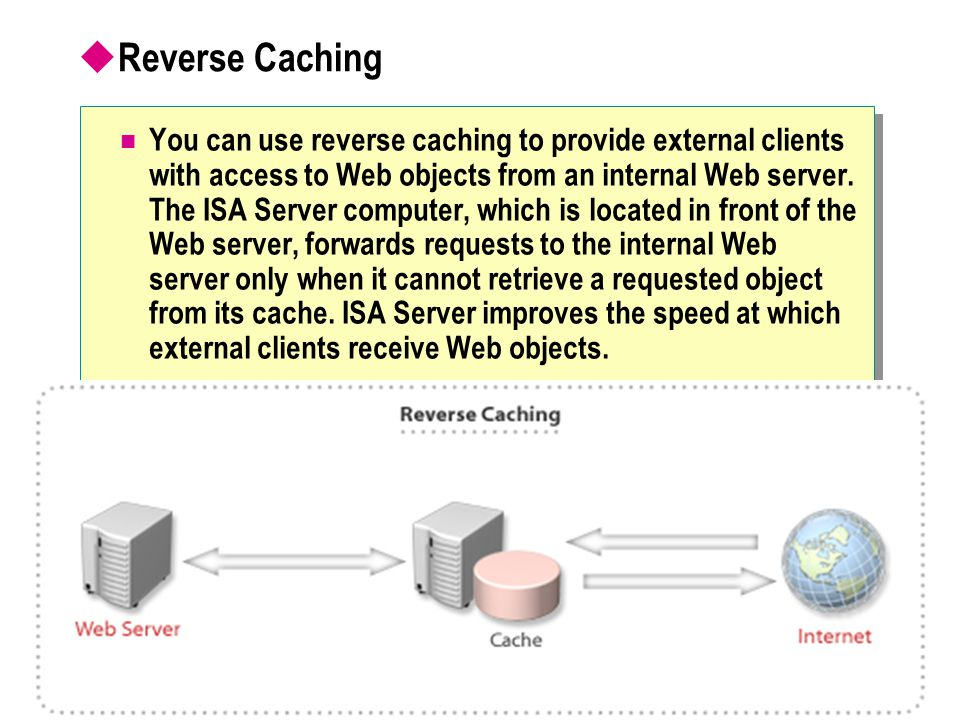  Reverse Caching You can use reverse caching to provide external clients with access to Web objects from an internal Web server. The ISA Server compu