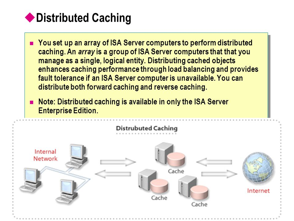  Distributed Caching You set up an array of ISA Server computers to perform distributed caching.