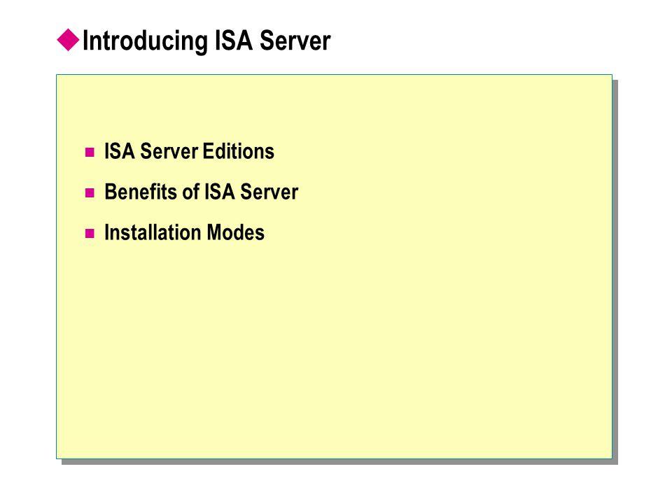  Introducing ISA Server ISA Server Editions Benefits of ISA Server Installation Modes