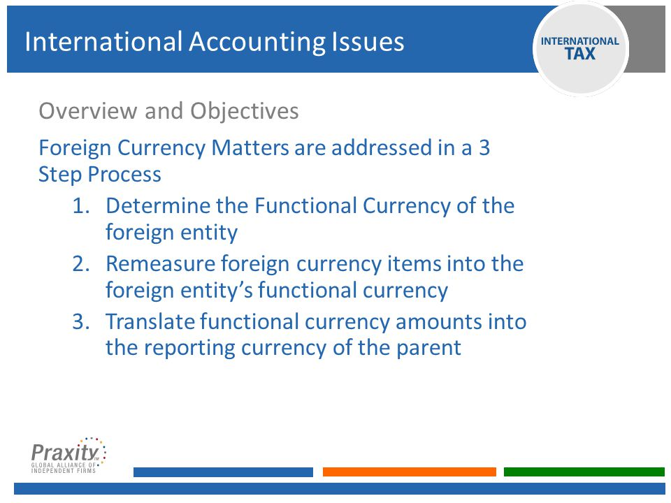 Overview and Objectives Foreign Currency Matters are addressed in a 3 Step Process 1.Determine the Functional Currency of the foreign entity 2.Remeasure foreign currency items into the foreign entity's functional currency 3.Translate functional currency amounts into the reporting currency of the parent International Accounting Issues