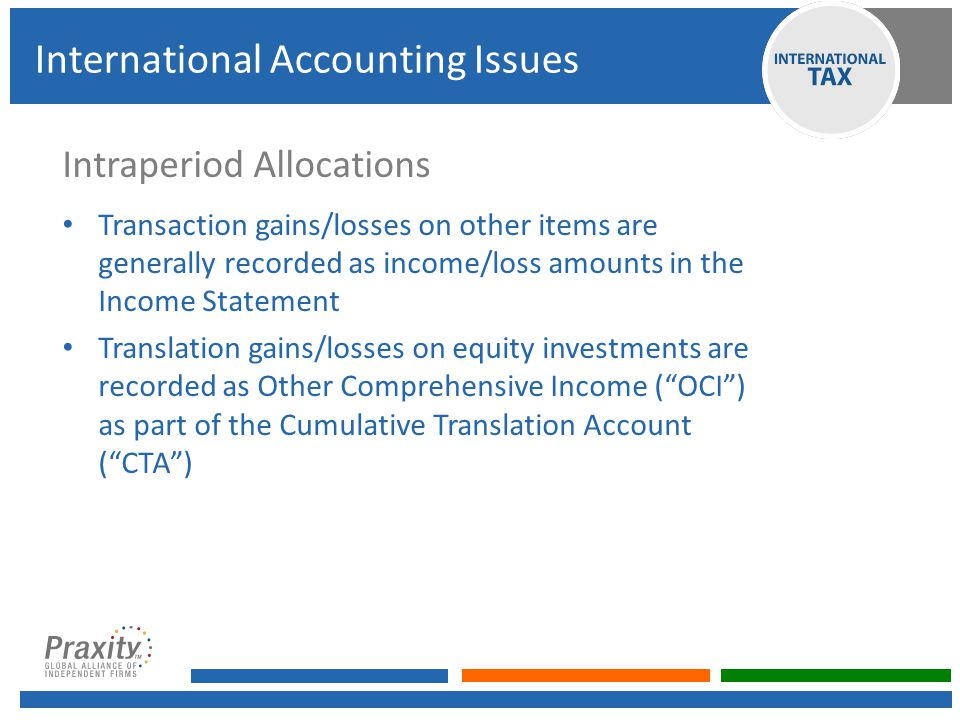 Intraperiod Allocations Transaction gains/losses on other items are generally recorded as income/loss amounts in the Income Statement Translation gains/losses on equity investments are recorded as Other Comprehensive Income ( OCI ) as part of the Cumulative Translation Account ( CTA ) International Accounting Issues