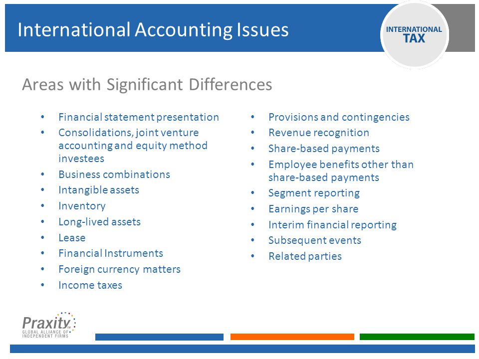 Areas with Significant Differences Financial statement presentation Consolidations, joint venture accounting and equity method investees Business combinations Intangible assets Inventory Long-lived assets Lease Financial Instruments Foreign currency matters Income taxes Provisions and contingencies Revenue recognition Share-based payments Employee benefits other than share-based payments Segment reporting Earnings per share Interim financial reporting Subsequent events Related parties International Accounting Issues