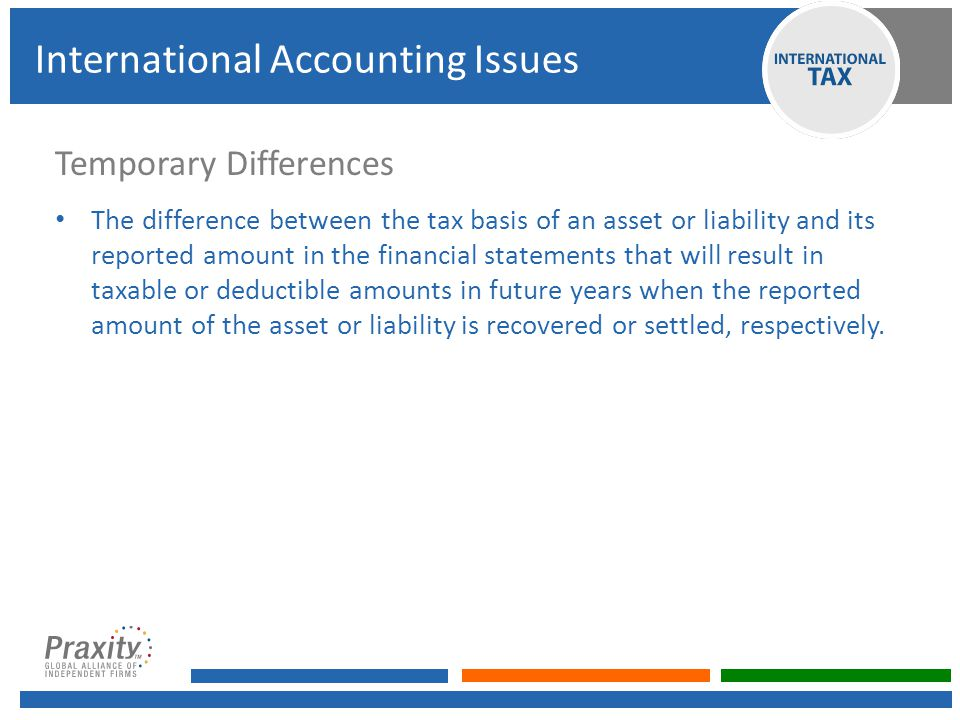 Temporary Differences The difference between the tax basis of an asset or liability and its reported amount in the financial statements that will result in taxable or deductible amounts in future years when the reported amount of the asset or liability is recovered or settled, respectively.
