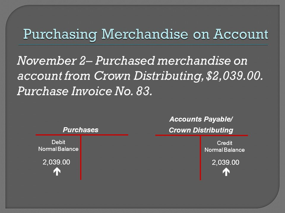 November 2– Purchased merchandise on account from Crown Distributing, $2,