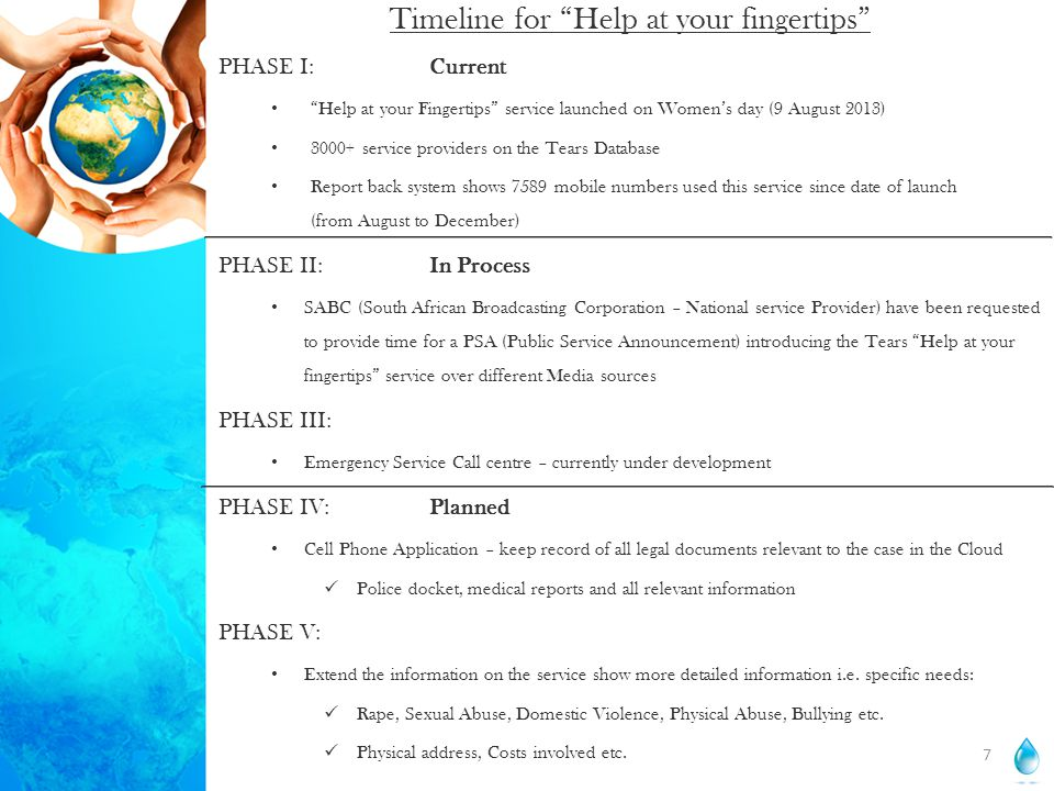 Timeline for Help at your fingertips PHASE I:Current Help at your Fingertips service launched on Women's day (9 August 2013) 3000+ service providers on the Tears Database Report back system shows 7589 mobile numbers used this service since date of launch (from August to December) PHASE II:In Process SABC (South African Broadcasting Corporation – National service Provider) have been requested to provide time for a PSA (Public Service Announcement) introducing the Tears Help at your fingertips service over different Media sources PHASE III: Emergency Service Call centre – currently under development PHASE IV:Planned Cell Phone Application – keep record of all legal documents relevant to the case in the Cloud Police docket, medical reports and all relevant information PHASE V: Extend the information on the service show more detailed information i.e.