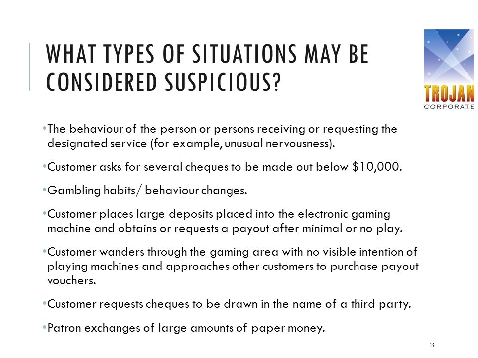WHAT TYPES OF SITUATIONS MAY BE CONSIDERED SUSPICIOUS? The behaviour of the person or persons receiving or requesting the designated service (for exam