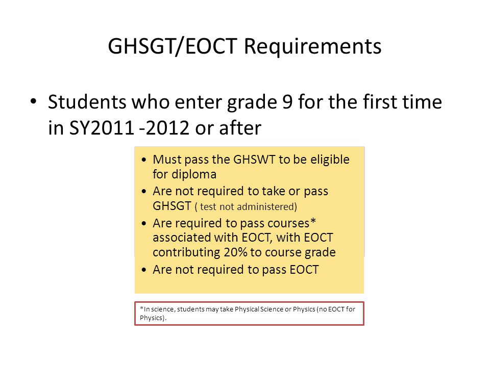 GHSGT/EOCT Requirements Students who enter grade 9 for the first time in SY2011 -2012 or after Must pass the GHSWT to be eligible for diploma Are not required to take or pass GHSGT ( test not administered) Are required to pass courses* associated with EOCT, with EOCT contributing 20% to course grade Are not required to pass EOCT *In science, students may take Physical Science or Physics (no EOCT for Physics).