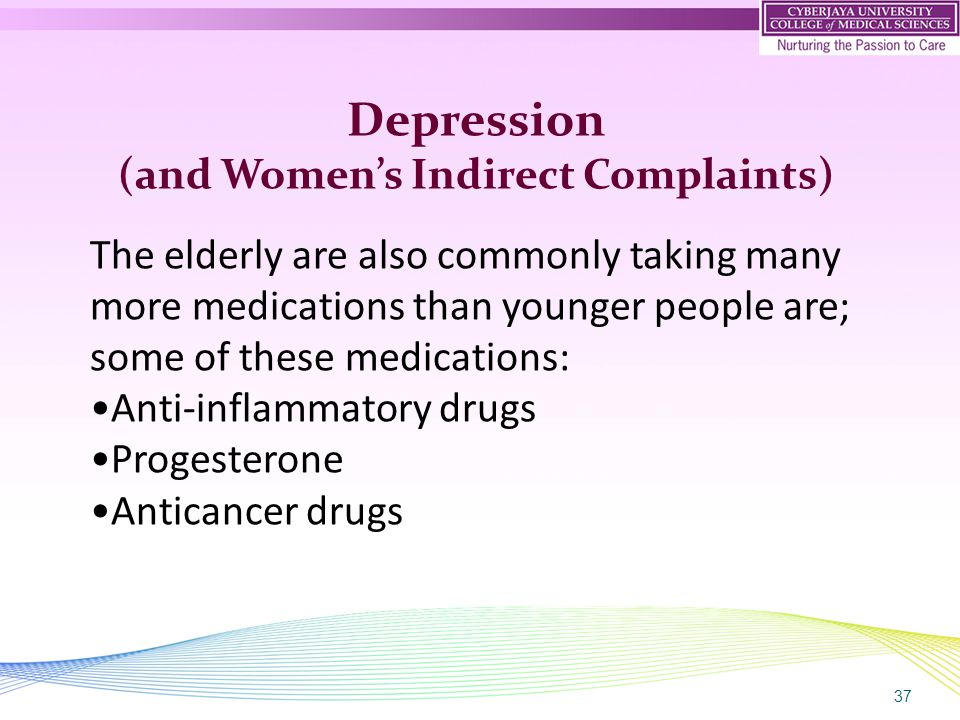 37 Depression (and Women's Indirect Complaints) The elderly are also commonly taking many more medications than younger people are; some of these medications: Anti-inflammatory drugs Progesterone Anticancer drugs