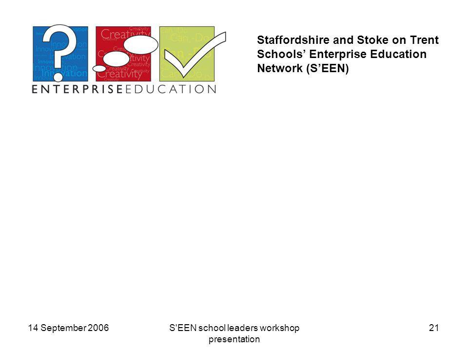 14 September 2006S EEN school leaders workshop presentation 21 Staffordshire and Stoke on Trent Schools' Enterprise Education Network (S'EEN)