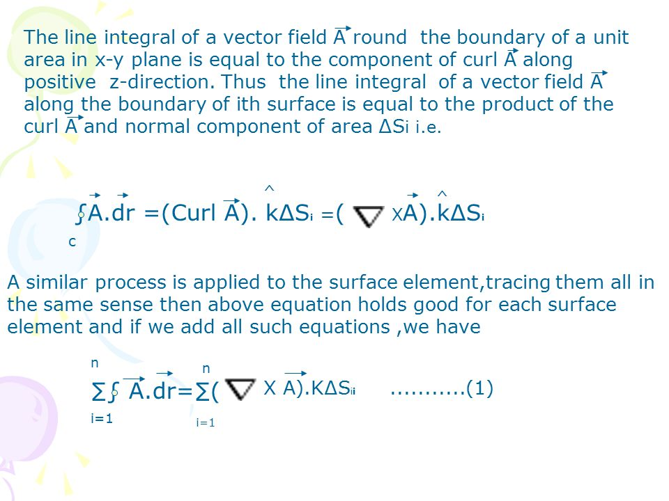 The line integral of a vector field A round the boundary of a unit area in x-y plane is equal to the component of curl A along positive z-direction.