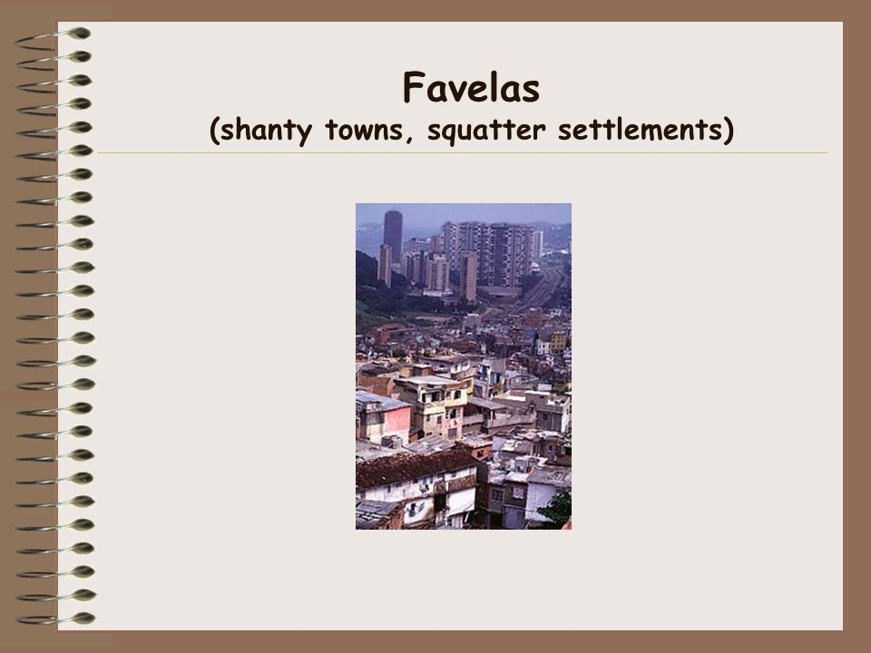 Favelas (shanty towns, squatter settlements)