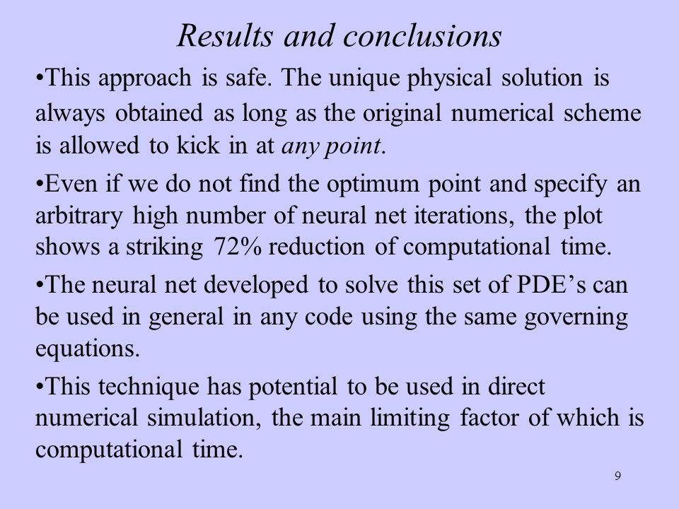 9 Results and conclusions This approach is safe. The unique physical solution is always obtained as long as the original numerical scheme is allowed t