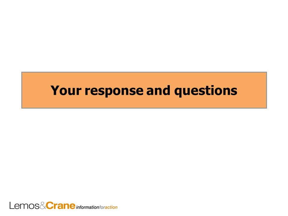 Your response and questions