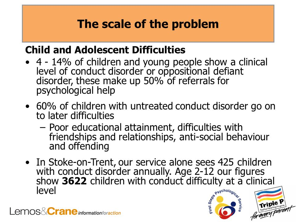 The scale of the problem Child and Adolescent Difficulties 4 - 14% of children and young people show a clinical level of conduct disorder or oppositional defiant disorder, these make up 50% of referrals for psychological help 60% of children with untreated conduct disorder go on to later difficulties –Poor educational attainment, difficulties with friendships and relationships, anti-social behaviour and offending In Stoke-on-Trent, our service alone sees 425 children with conduct disorder annually.