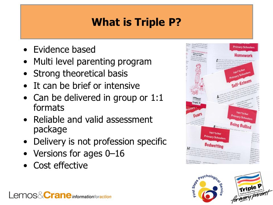 What is Triple P? Evidence based Multi level parenting program Strong theoretical basis It can be brief or intensive Can be delivered in group or 1:1