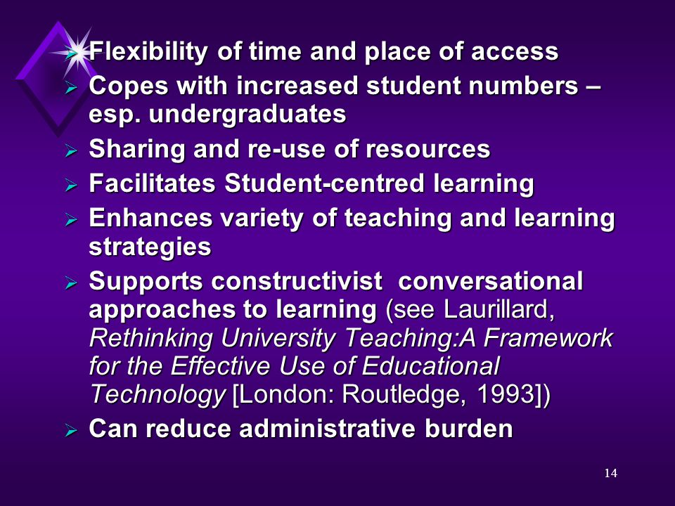 14  Flexibility of time and place of access  Copes with increased student numbers – esp. undergraduates  Sharing and re-use of resources  Facilita