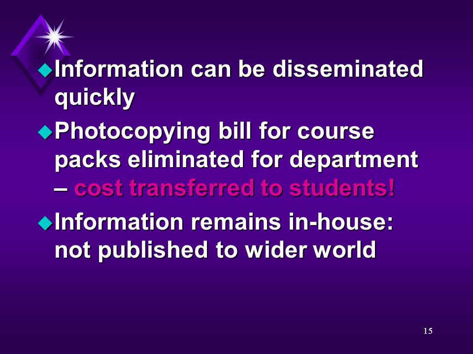15 u Information can be disseminated quickly u Photocopying bill for course packs eliminated for department – cost transferred to students.