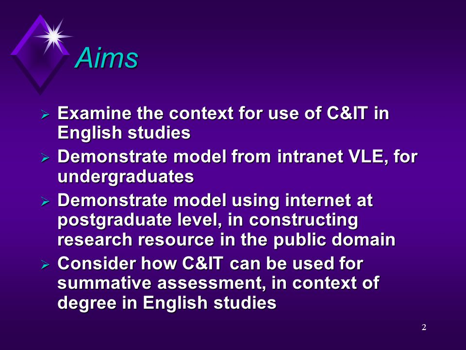 2 Aims  Examine the context for use of C&IT in English studies  Demonstrate model from intranet VLE, for undergraduates  Demonstrate model using in
