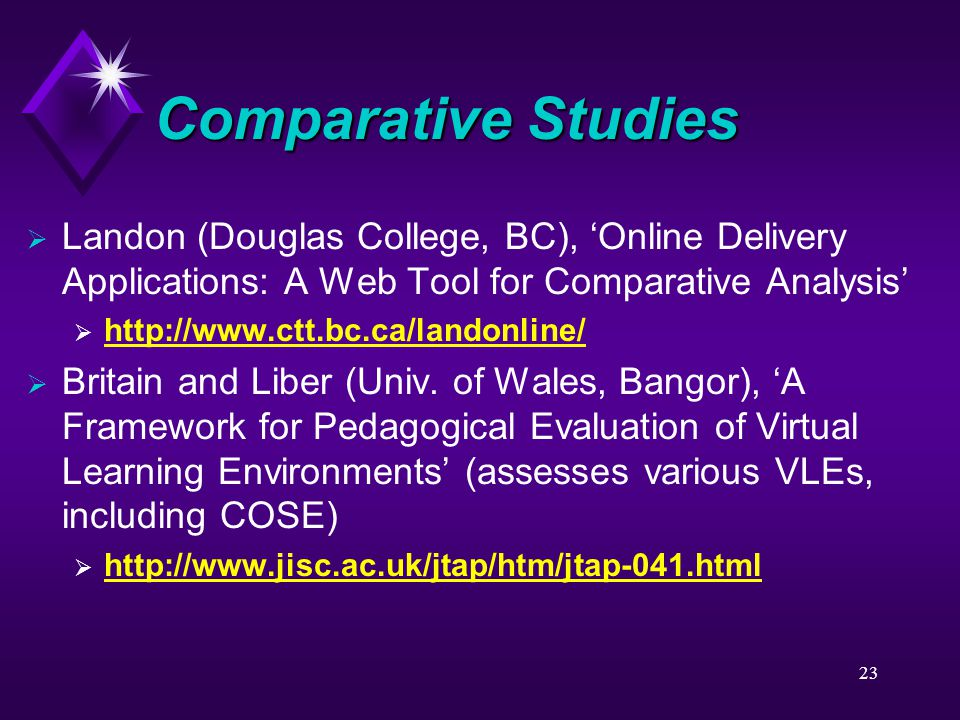 23 Comparative Studies  Landon (Douglas College, BC), 'Online Delivery Applications: A Web Tool for Comparative Analysis'  http://www.ctt.bc.ca/land