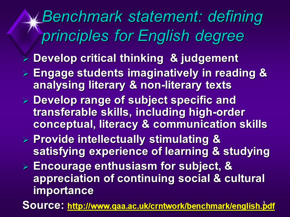 3 Benchmark statement: defining principles for English degree  Develop critical thinking & judgement  Engage students imaginatively in reading & analysing literary & non-literary texts  Develop range of subject specific and transferable skills, including high-order conceptual, literacy & communication skills  Provide intellectually stimulating & satisfying experience of learning & studying  Encourage enthusiasm for subject, & appreciation of continuing social & cultural importance Source: http://www.qaa.ac.uk/crntwork/benchmark/english.pdf http://www.qaa.ac.uk/crntwork/benchmark/english.pdf