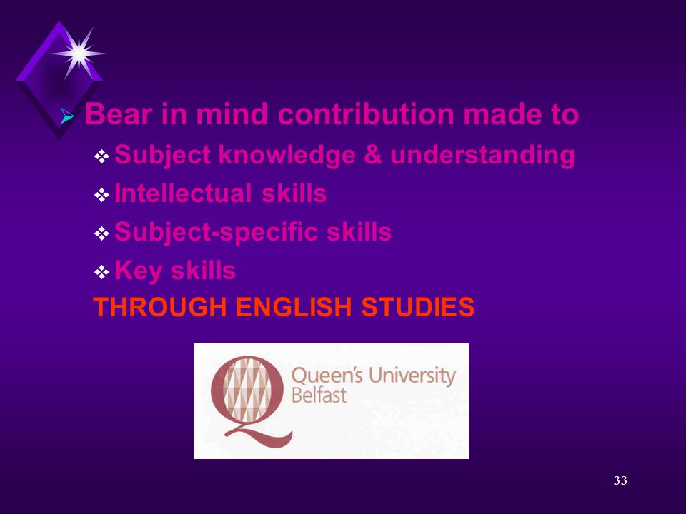 33  Bear in mind contribution made to  Subject knowledge & understanding  Intellectual skills  Subject-specific skills  Key skills THROUGH ENGLISH STUDIES