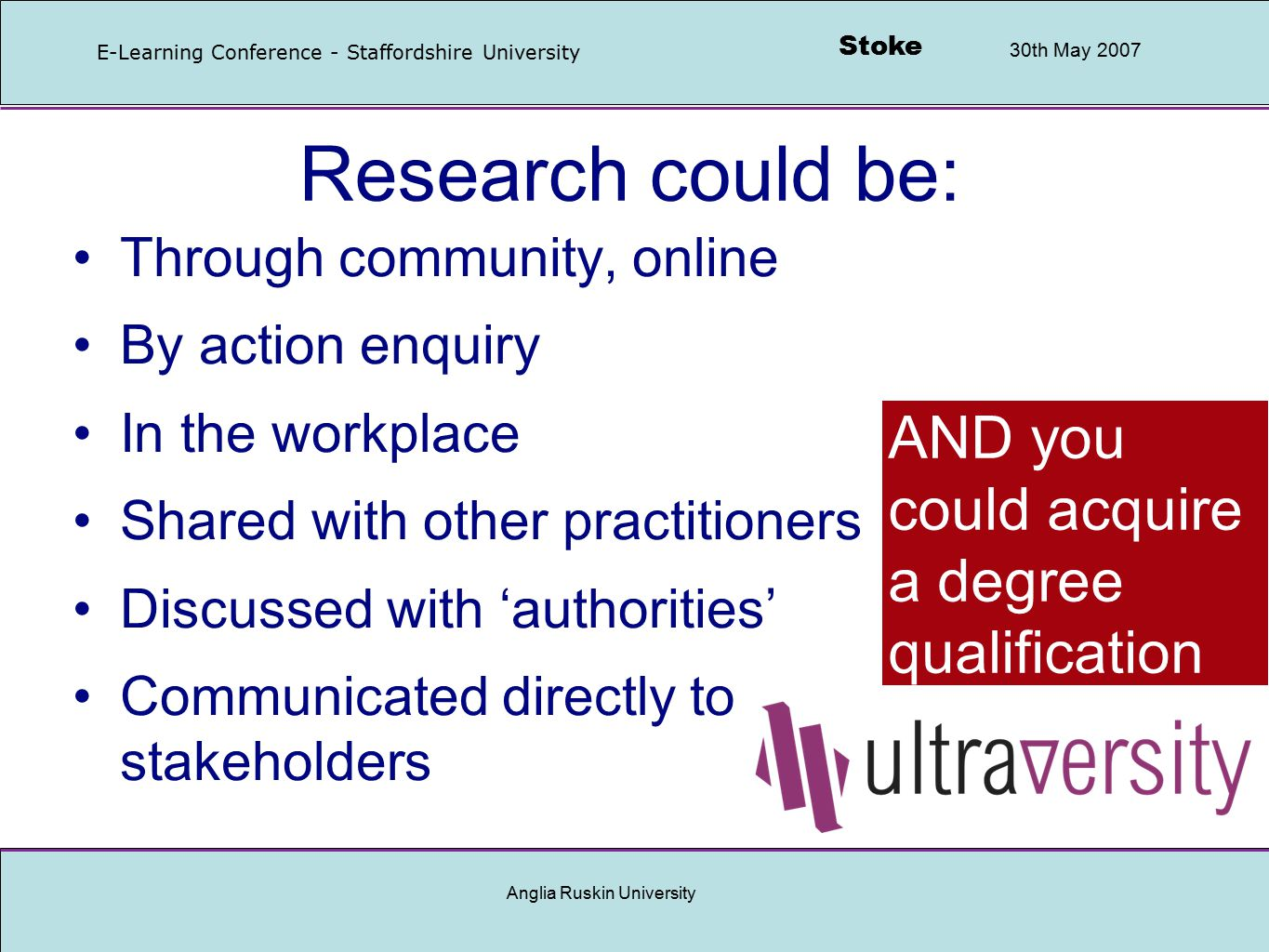Stoke 30th May 2007 E-Learning Conference - Staffordshire University Anglia Ruskin University Research challenge Traditionally, research is carried out by research professionals… …struggling with scientific objectivity, validity, reliability… …results are published, later… …and may be applied by practitioners and policymakers BUT often too late, particularly with e-learning where technology develops so fast