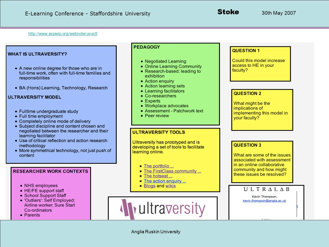 Stoke 30th May 2007 E-Learning Conference - Staffordshire University Anglia Ruskin University Collaborative bookmarks http://www.recap.ltd.uk/podcasting/archive.php http://www.sandaigprimary.co.uk/radio_sandaig/index.php http://www.flickr.comhttp://www.flickr.com or http://photobucket.comhttp://photobucket.com http://www.clustrmap.com http://www.furl.net/http://www.furl.net/ or http://del.icio.us/keltickevhttp://del.icio.us/keltickev http://123.writeboard.com/ http://www.aboutrobertburns.co.uk/