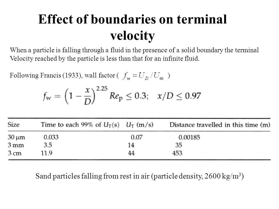 Effect of boundaries on terminal velocity Sand particles falling from rest in air (particle density, 2600 kg/m 3 ) When a particle is falling through a fluid in the presence of a solid boundary the terminal Velocity reached by the particle is less than that for an infinite fluid.