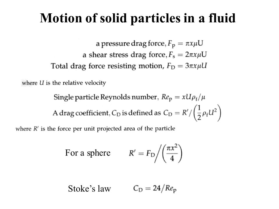 Motion of solid particles in a fluid For a sphere Stoke's law