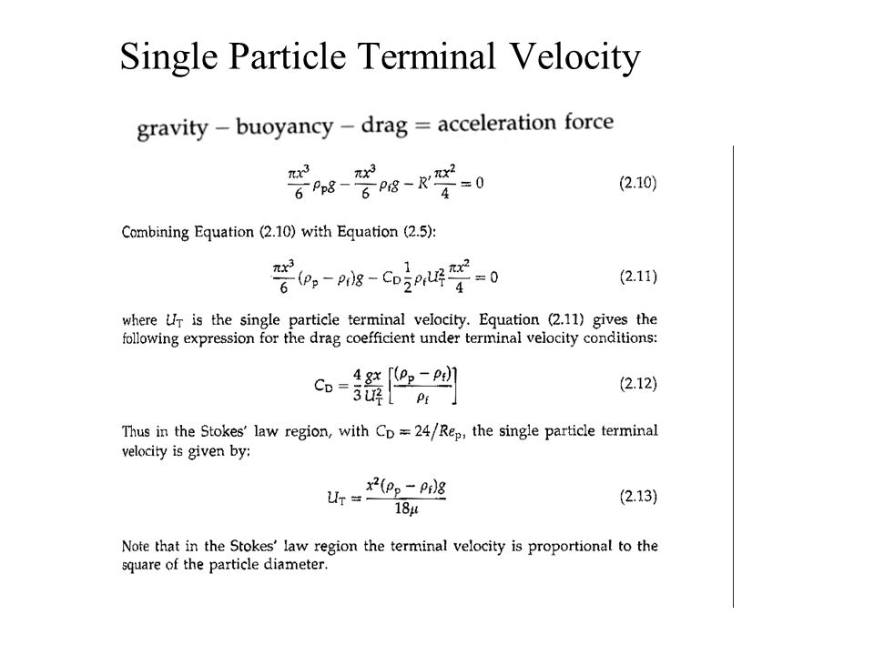 Single Particle Terminal Velocity