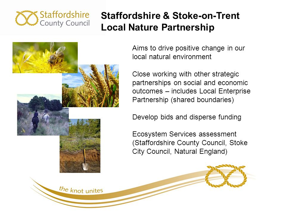 Staffordshire & Stoke-on-Trent Local Nature Partnership Aims to drive positive change in our local natural environment Close working with other strategic partnerships on social and economic outcomes – includes Local Enterprise Partnership (shared boundaries) Develop bids and disperse funding Ecosystem Services assessment (Staffordshire County Council, Stoke City Council, Natural England)