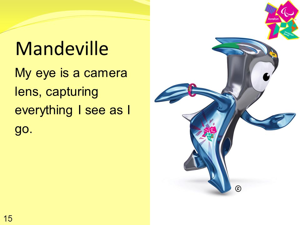 Mandeville My eye is a camera lens, capturing everything I see as I go. 15