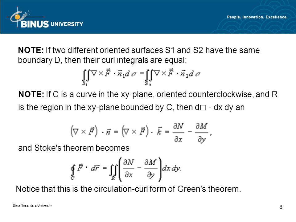 Bina Nusantara University 19 Soal soal Divergence Use the Divergence theorem to evaluate Bila F = ( x 2 z, – y, xyz ) dan S dibatasi oleh kubus : 0 < x < a, 0 < y < a, 0 < z < a